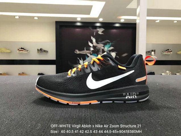 Mens Original OFF-WHITE Virgil Abloh x Nike Air Zoom Structure 21 Core  Black White Orange 907324-008 740dadcf61