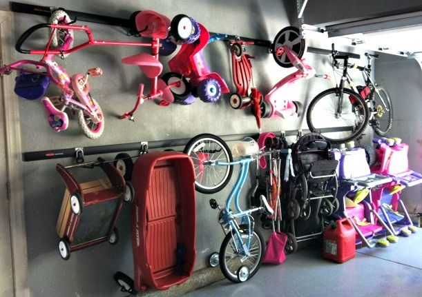 Garage storage for kids bikes, scooters, ride ons, etc.