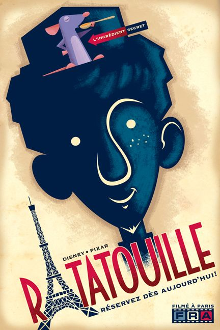 Very cool retro style Ratatouille movie poster by Disney/Pixar animator Eric Tan.  (And I like how it's in French!)