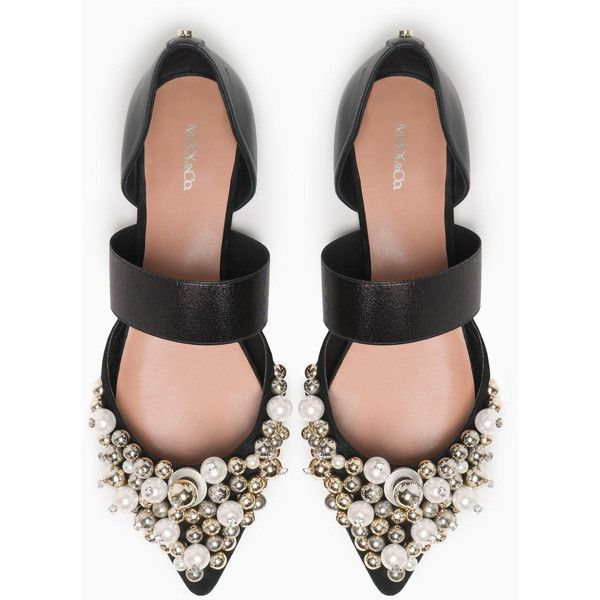 MAX&Co. Beaded ballerinas ($285) ❤ liked on Polyvore featuring shoes, flats, ballet flat shoes, metallic flats, ballerina flat shoes, cut out ballet flats and pointy toe ballet flats