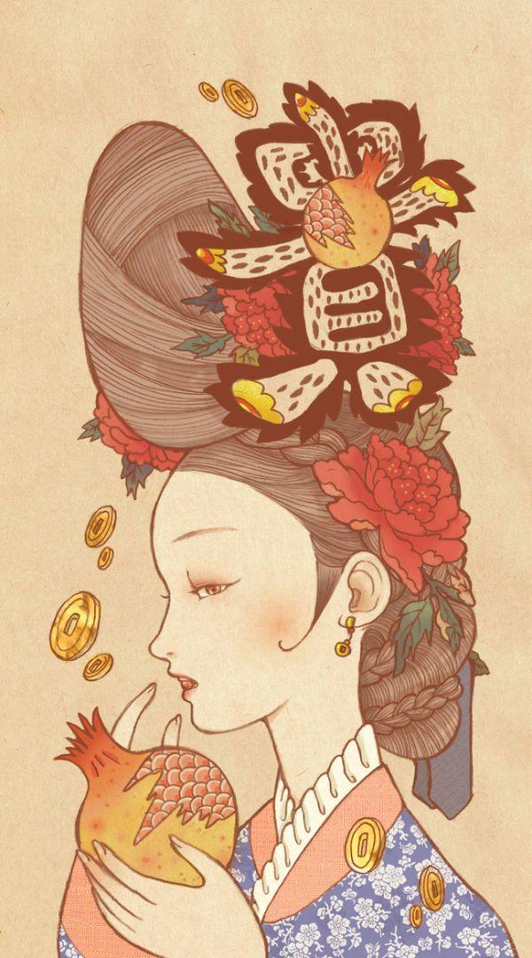 [재물,성공기원] -민화의 상징-  풍족하고 여유로운 삶은 변하지 않는 가장 중요한 가치 중 하나이다. 옛 조상들도 모든 일이 잘 풀리고 번창하길 바라며 재복을 기원해왔다.   석류: 껍질 안에 수 많은 알갱이가 가득 찬 모양이, 가득 찬 보석주머니와 닮아 재물복과 번영을 상징했다.  모란: 부귀영화를 상징한다.   貴(귀할 귀): 가치가 높다, 신분이 높다는 뜻을 가진 귀할 귀자는 신분상승과 재물이 많아지길 기원하는데 쓰였다.