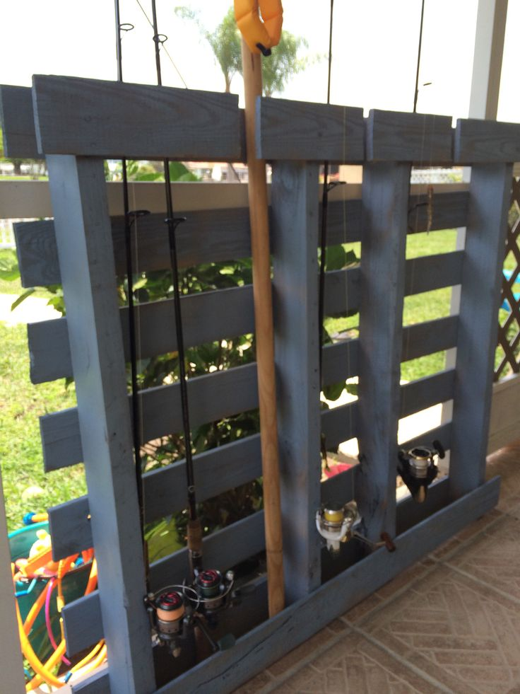 Diy pallet project fishing rod holder crafts pinterest for Diy fishing pole rack