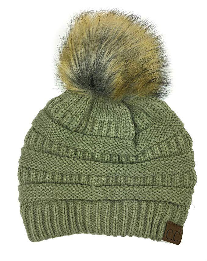 db07844f75f Soft Stretch Cable Knit Ribbed Faux Fur Pom Pom Beanie Hat (Black) at Amazon