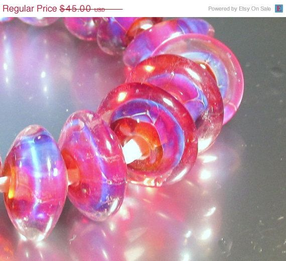 clio silver glass lampwork disk beads