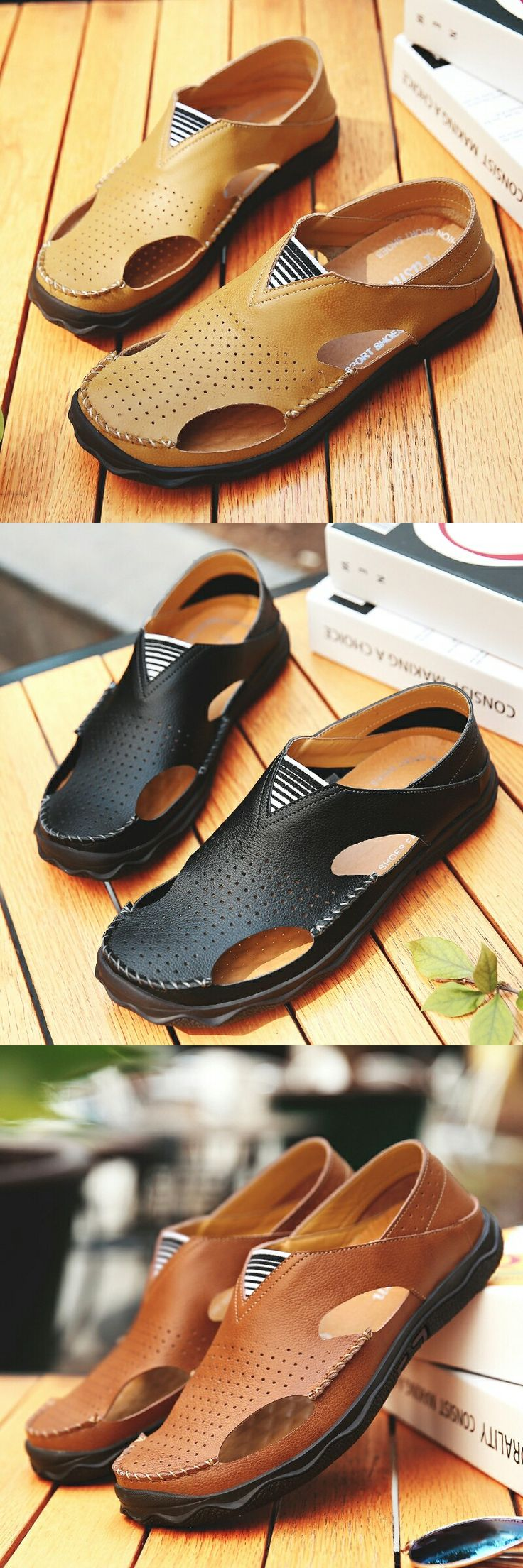 US $27.52  <Click to buy> Prelesty 2018 Summer Genuine Leather Casual Shoes Slippers New Men Sandals Breathable Outdoor Beach Sandals Hollow Holes