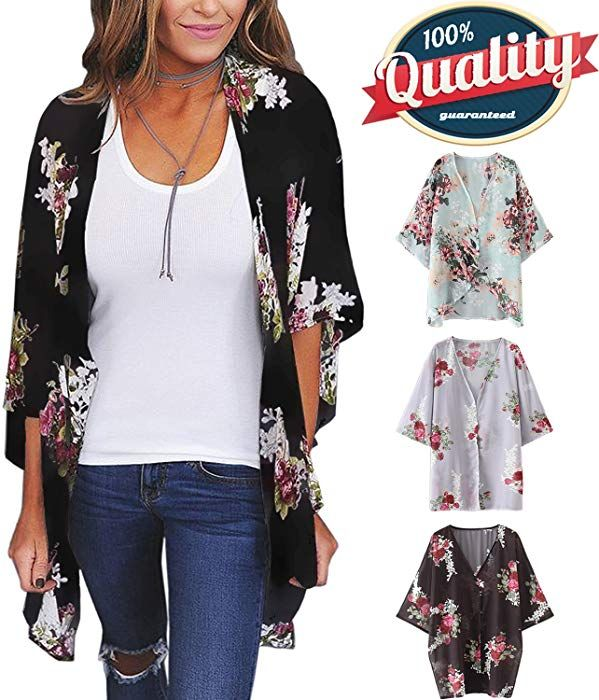 450b1240c2 Women's 3/4 Sleeve Floral Kimono Casual Cardigan Sheer Loose Shawl Chiffon  Beach Cover Up (C-Black, M) at Amazon Women's Clothing store: