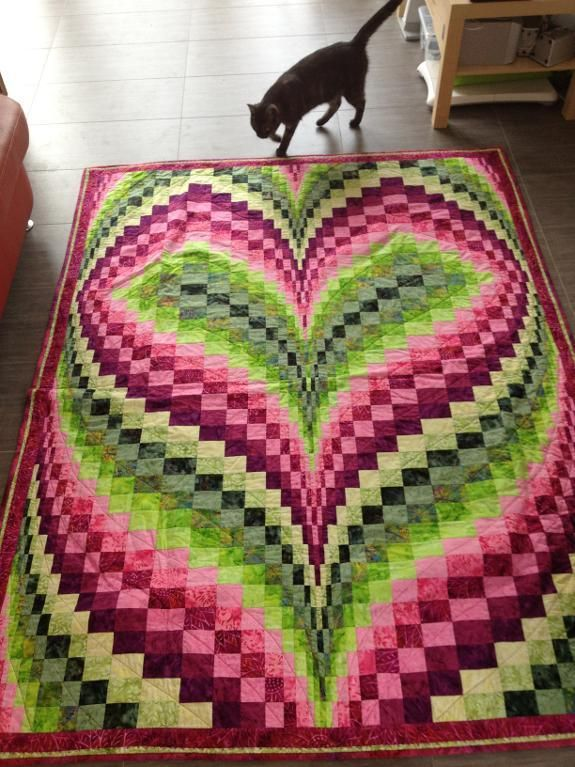 Bargello Heart Quilt Pattern via Craftsy