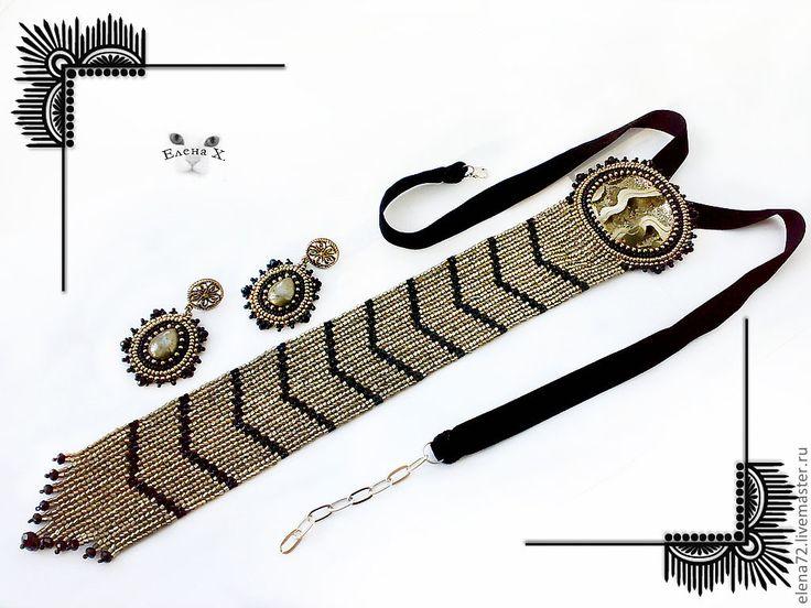 Купить комплект Маргарет - аммонит, жеода, пирит, пиритовая жеода, галстук из бисера, галстук, серьги