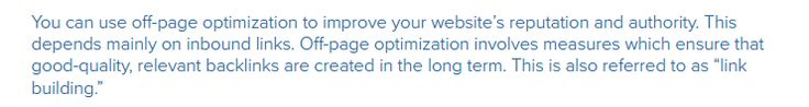 off-page optimization to improve your website's reputation and authority.