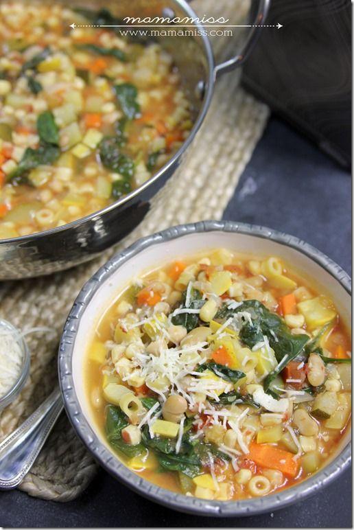 Seven Vegetable Minestrone Soup   @mamamissblog