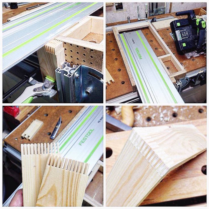 I built a jig for making box joints with my Festool TSC 55 circular saw. The jig slides on the tabletop and along the rail of the frame of the Festool MFT/3 and can be positioned very precisely. The work piece is clamped with the help of a Item profile 40x40.