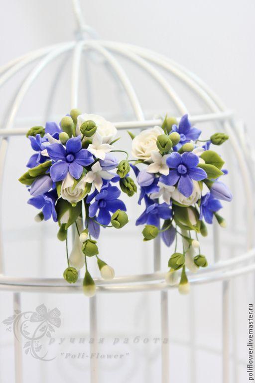 """Серьги """"Cielo sereno"""". - синий,белый,серьги,серьги ручной работы,серьги с цветами"""