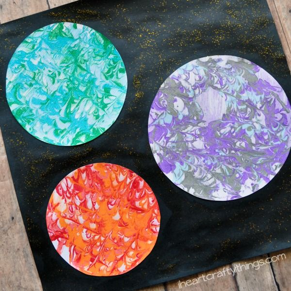 preschool space craft  marbled planets art