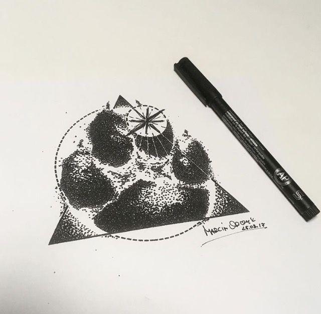 My love Boerboel Burbon's paw tattoo, #pawtattoo #theelements #firetheelement #windrose #dotwork #blackwork #tattoo #orczyk