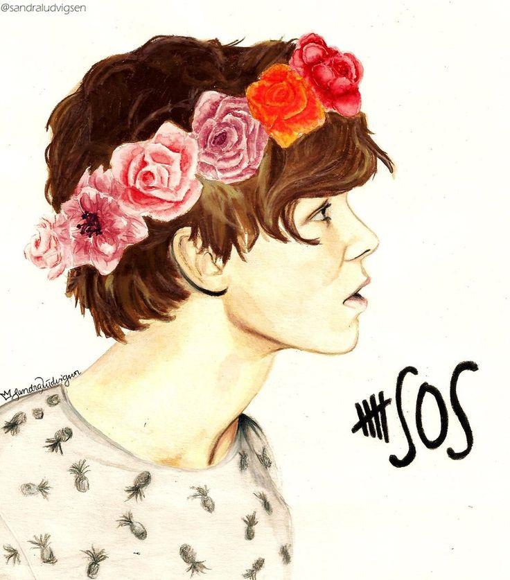 5 Seconds of Summer 5SOS drawing of Ashton soooo good!
