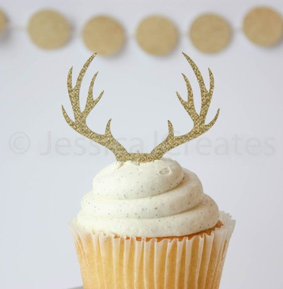 Antler Cupcake Toppers Deer Cupcake Topper by JessicaJCreates
