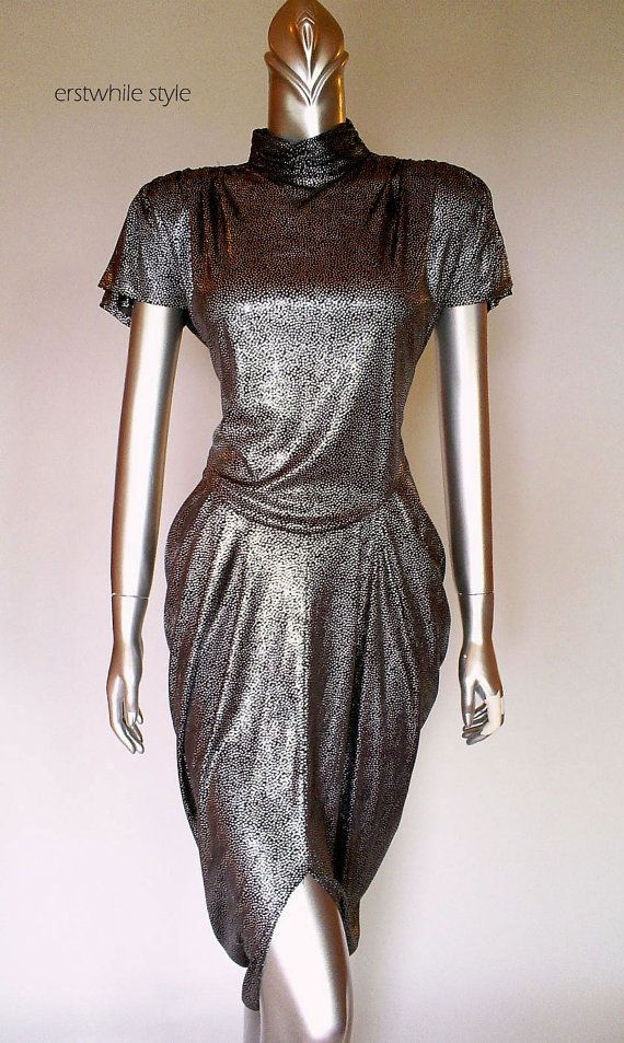 1980s Liquid Silver Metallic Dress SM/MED by Erstwhilestyle, $70.00