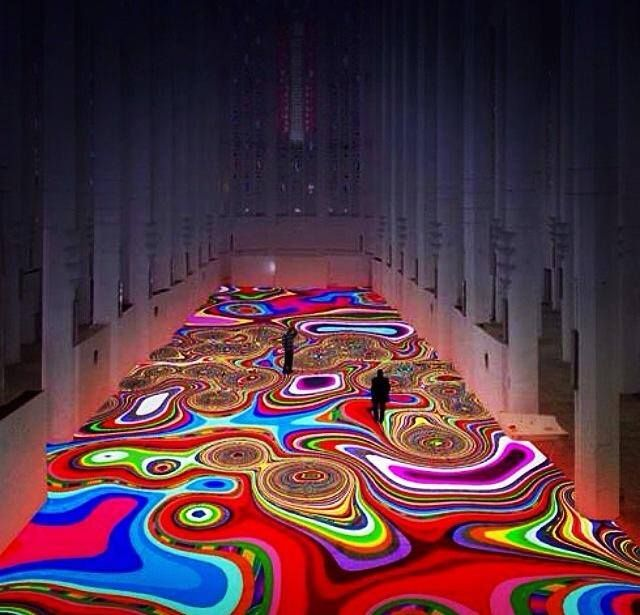 Light artist Miguel Chevalier projected light covers the floor of Sacre Coeur in Morocco