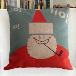 "YPY Creative Fashion Cotton Linen Square Decorative Throw Pillow Cover Colored Drawing Christmas Santa Claus 18 ""X18 """