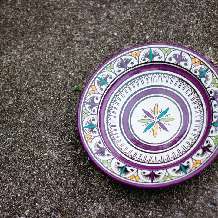 Hand Painted Moroccan Ceramic Plate from Trouvaille Boutique