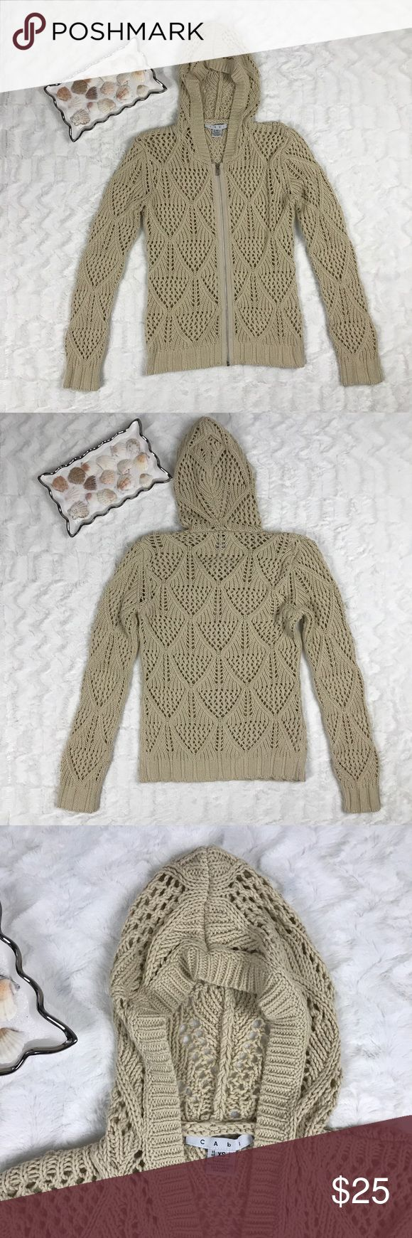 CAbi women's hoodie front zip crochet XS CAbi Length 24 1/2 inches Underarm to underarm 18 inches Sleeve 24 1/2 inches CAbi Sweaters