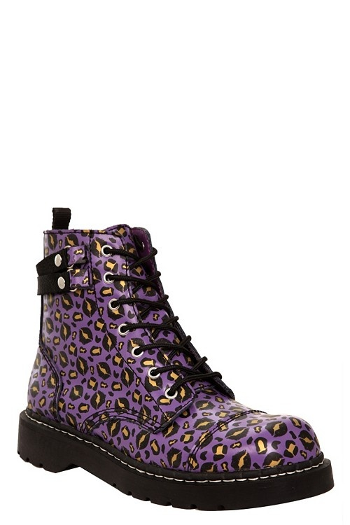 Internet exclusive! Anarchic by T.U.K. boot with purple leather, capped toe, leopard kiss print and side zip closure. The black sole has a fun Anarchic logo tread.