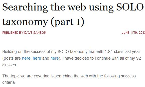 Searching the web using SOLO Taxonomy (part 1) | Dave Sansom