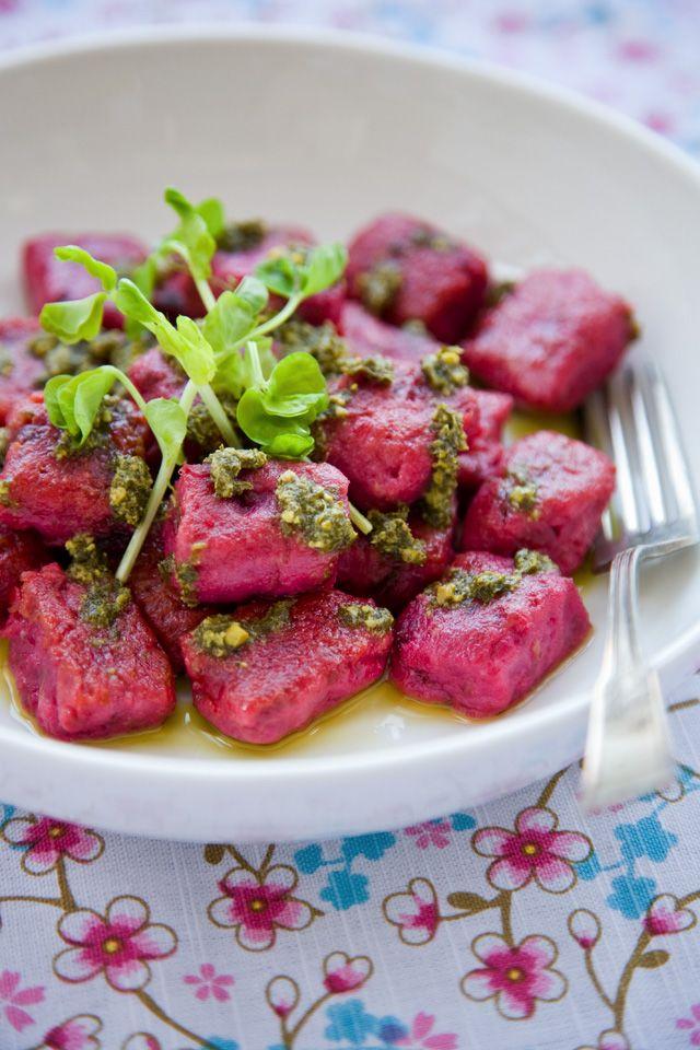 Beet and potato gnocchi