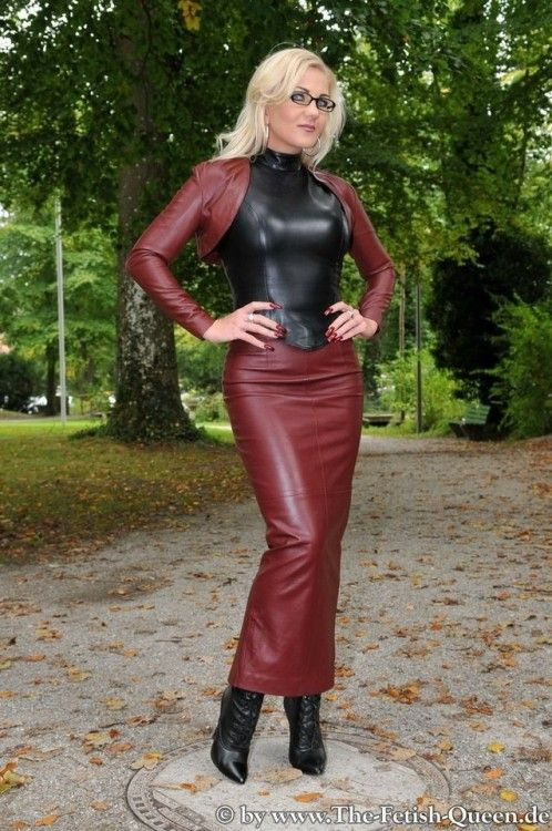 "tle78: ""Everybody loves Heike "" Wonderful leather hobble skirt and matching  bolero top."