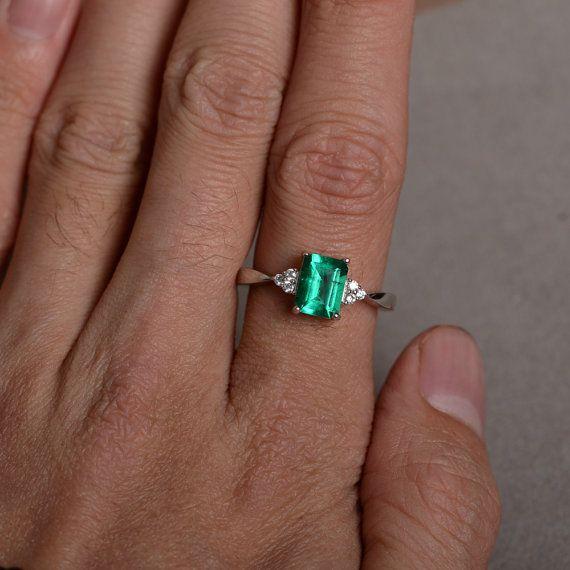 Anello smeraldo anello di promessa per la sua di KnightJewelry