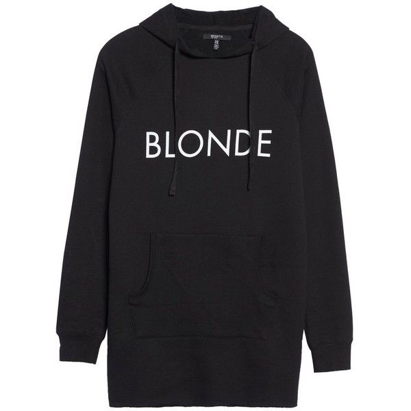 Women's Brunette The Label Blonde Tunic Hoodie ($129) ❤ liked on Polyvore featuring tops, black, extra-long tank tops, double layer top and layered tops