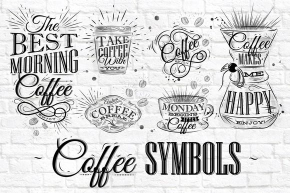 Coffee Symbols by Anna on Creative Market