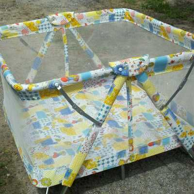 Vintage kantwet playpen. Now they are rectangles and called pack n plays.  I liked the old ones better