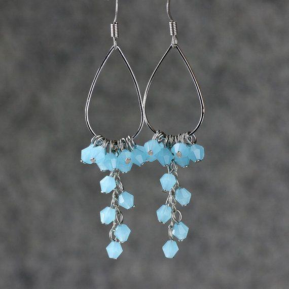 Teal large long chandelier hoop earrings handmade by AniDesignsllc