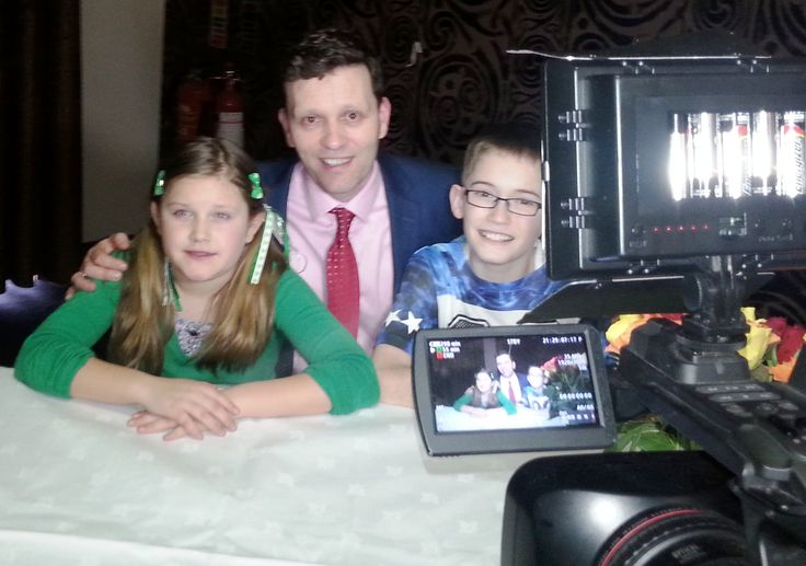 Young Authors, Jada Wedding and Josh Earley with Book Hub Publishing's MD, Dr. Niall McElwee being interviewed by Irish TV.
