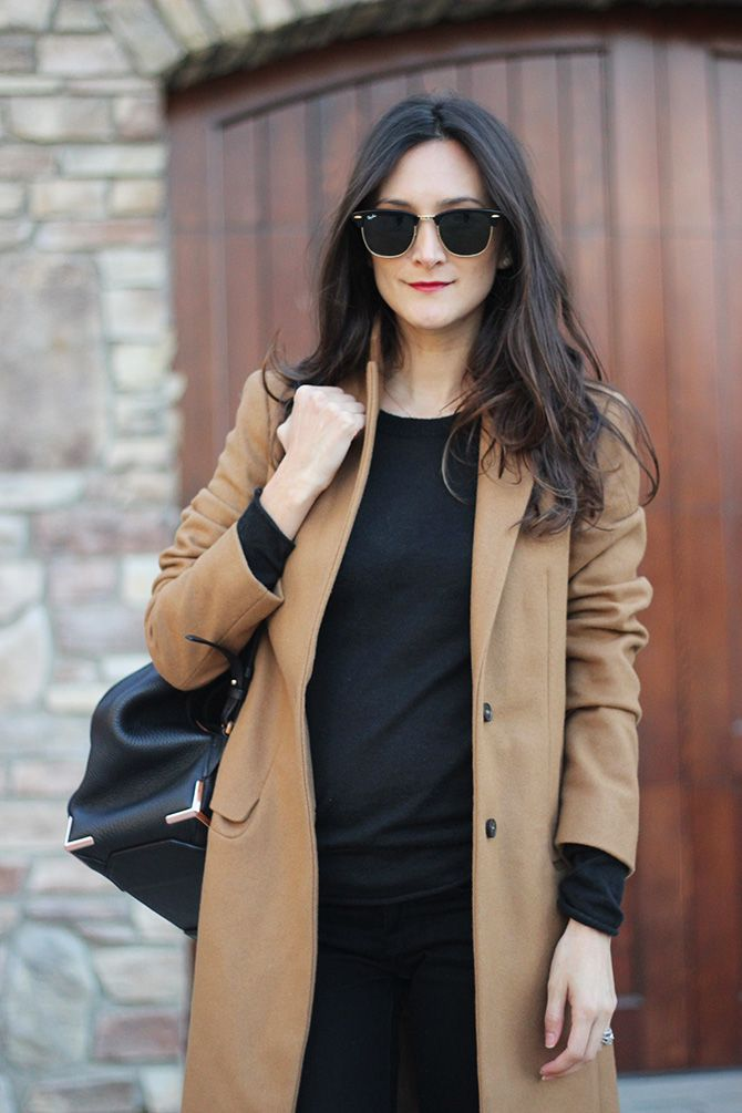 Black Outfit + Camel Peacoat | FRANKIE HEARTS FASHION