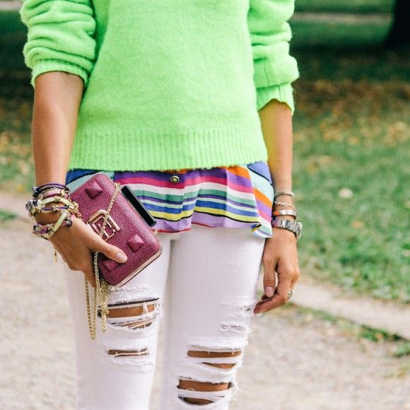 Street Style Details of Milan Fashion Week - polo ralph lauren neon colors for winter