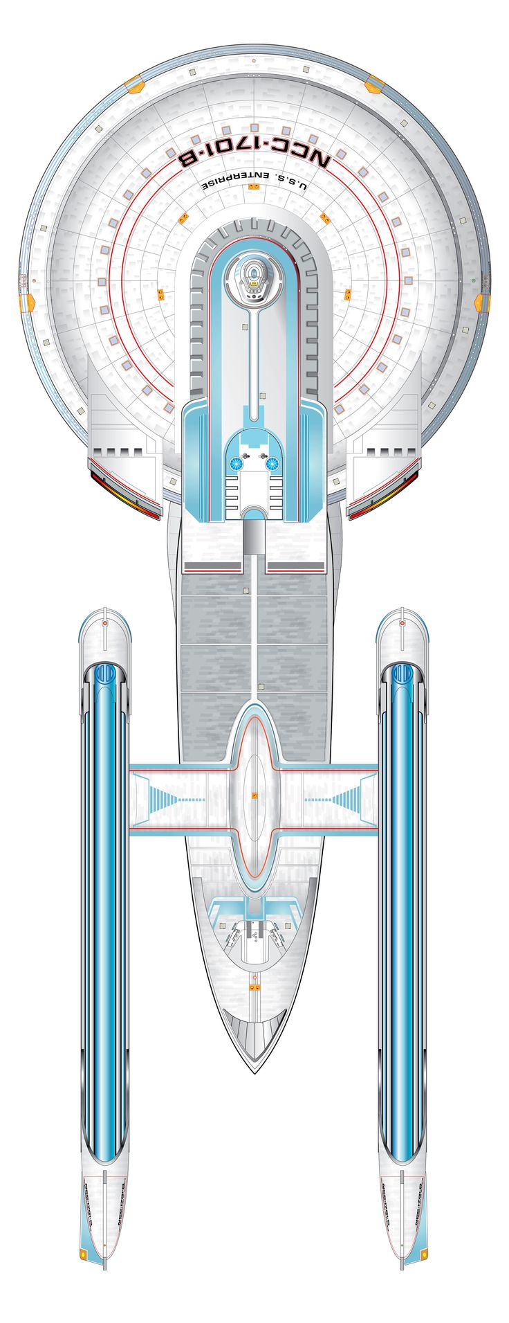 Starship schematic, Excelsior Class [variant] USS Enterprise (NCC-1701-B)  Top View. Keep clicking on the photo. It'll enlarge to show one of the most amazing blueprints you've ever seen!