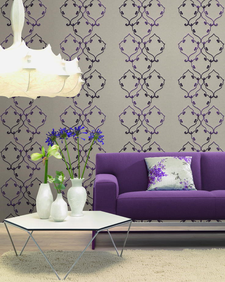 46 best wohnzimmer tapeten mit eleganten ornamenten. Black Bedroom Furniture Sets. Home Design Ideas