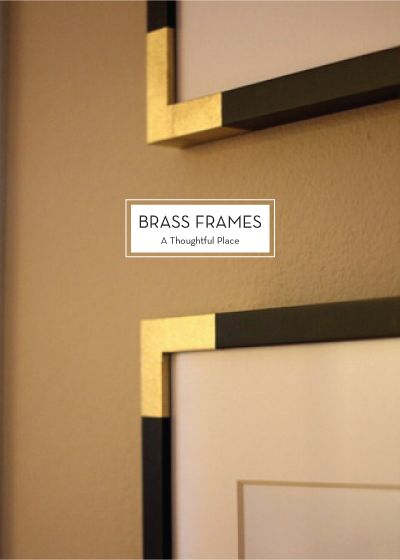 DIY brass frame corner with painter's tape // A Thoughtful Place Design - Champagne frames.