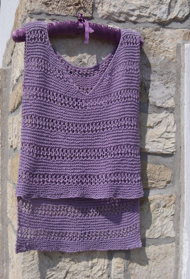 Cotton hand knit top - Summer vest top - Lacy knit vest - Knitted vest - Lilac top - Crop top - Soft cotton knit V neck vest top in lilac by WoolieBits on Etsy