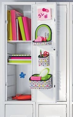 locker idea for shelving, books on the top two and you can put your backpack and lunch in the bottom. For smaller lockers
