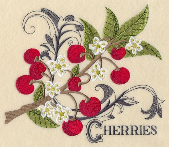 Embroidered Cherries & baroque flourish quilt block,cherry panel,cushion panel