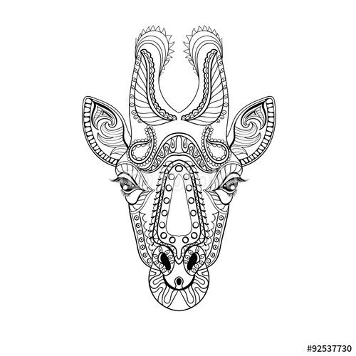 Vector Zentangle Giraffe Head Totem For Adult Anti Stress Coloring Page