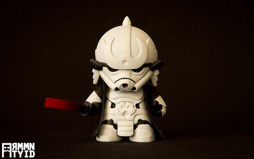 """Storm Samurai, Star Wars Stormtrooper as a Samurai Custom Art Toy    Paris, France graphic designers / custom toy makers Guillaume and Julia Lachambre (aka """"Artmymind"""") have created a rad 5″ tall Star Wars Stormtrooper / Samurai mashup vinyl art toy titled Storm Samurai that was commissioned by a private collector. Unfortunately, this custom Munny is not for sale. They do, however, have other designs available in their store.    Storm Samurai by Guillaume & Julia Lachambre"""