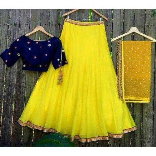 Yellow Net Plain Semi Stitched Lehenga