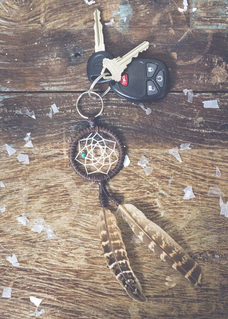 Picture of white leather dream catcher with feathers key chain by SoulMakes