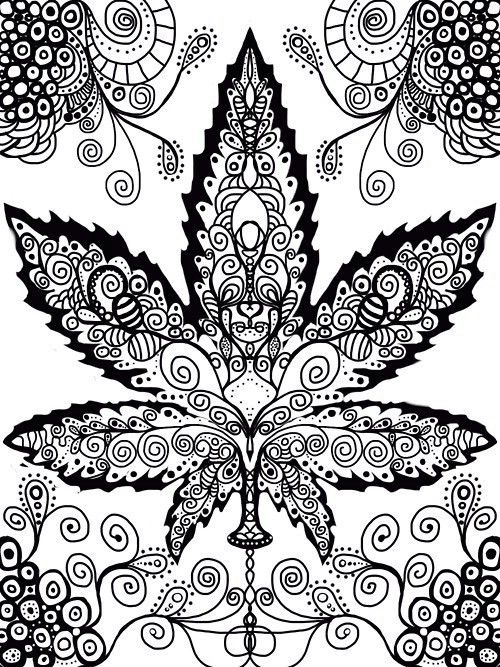 10 Images About My Coloring Time On Pinterest Coloring Trippy Pot Leaf Coloring Pages