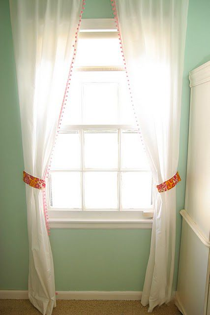 homemade ginger: Frugal Decor Tip: How To Decorate With Cheap Sheets curtains using sheet curtain