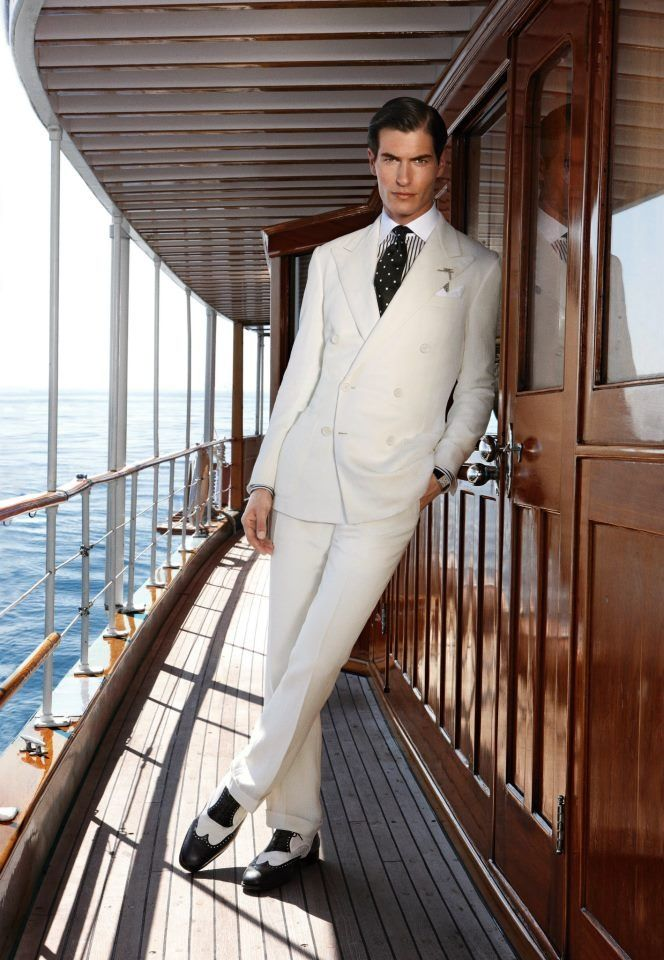 white 1920's suit